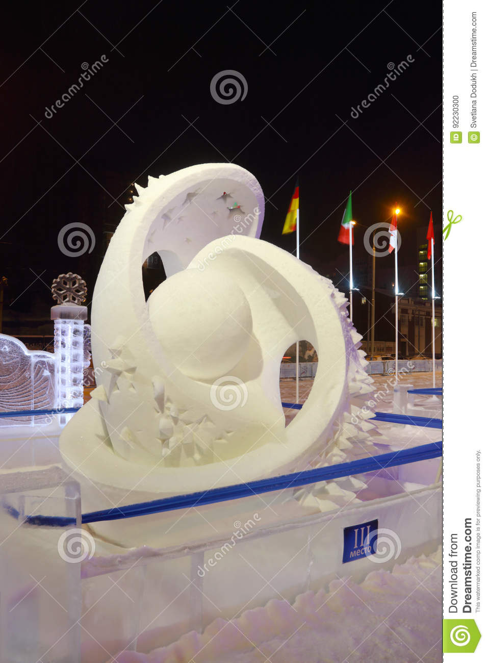 Sculpture Planet At Evening, Ice Town Editorial Image - Image of ...