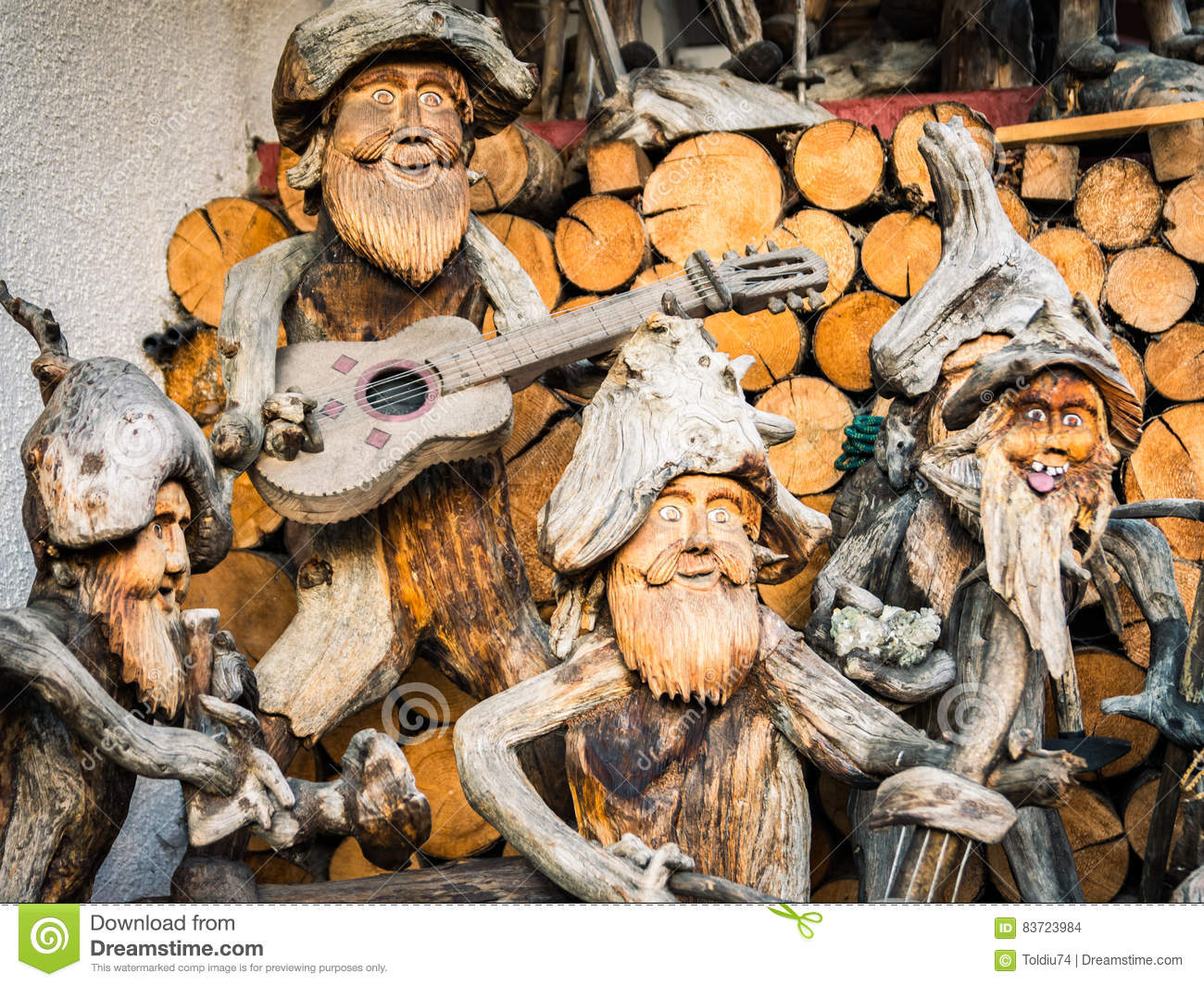 Sculpture Roots Representatives Musicians With Their Instruments Editorial Stock Image