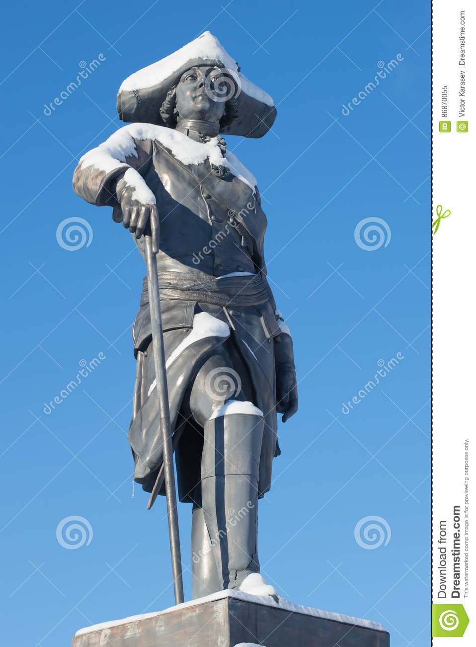 The sculpture of the russian emperor Paul I, closeup of sunny February day. The monument at the Pavlovsk Palace