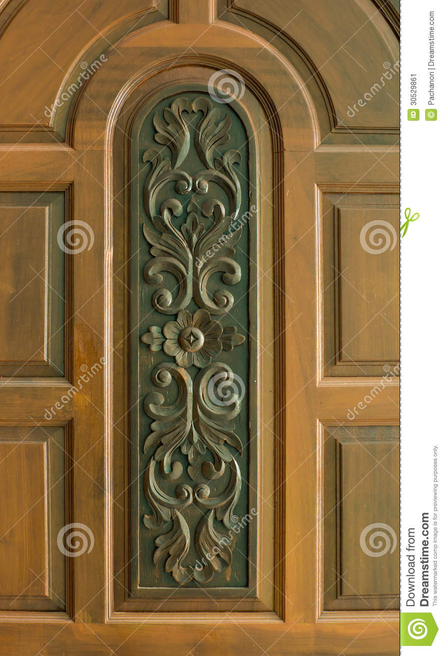 Sculpture On Teakwood Door Stock Image Image Of Asian