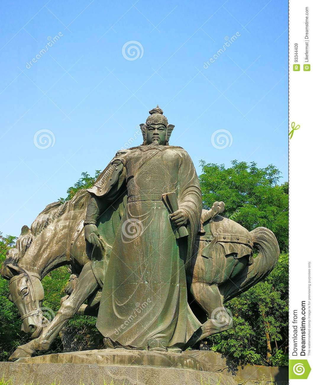 The sculpture of yue fei stock image  Image of theyellow