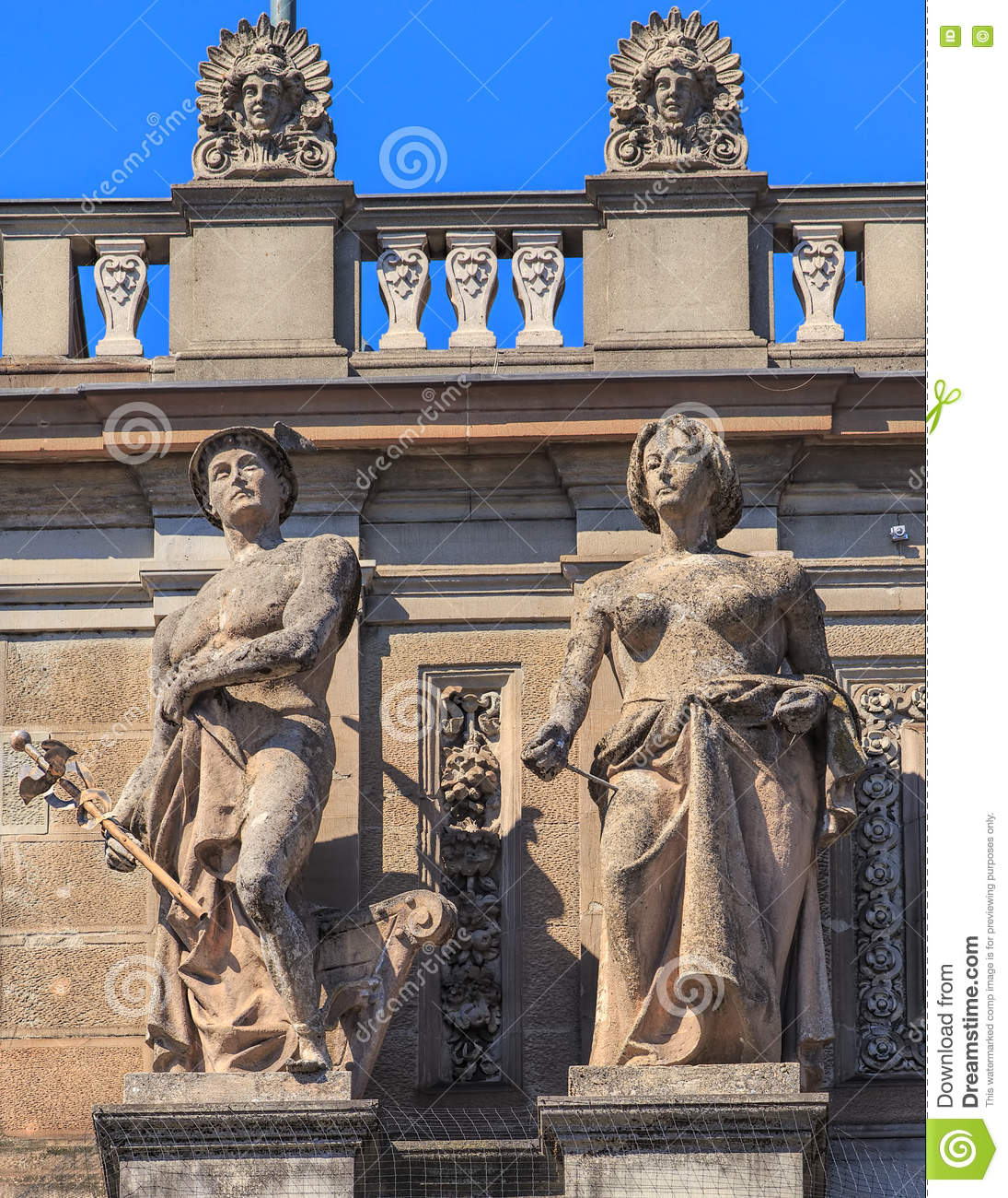 Sculptures On The Facade Of The Zurich Main Train Station Buildi Editorial Image