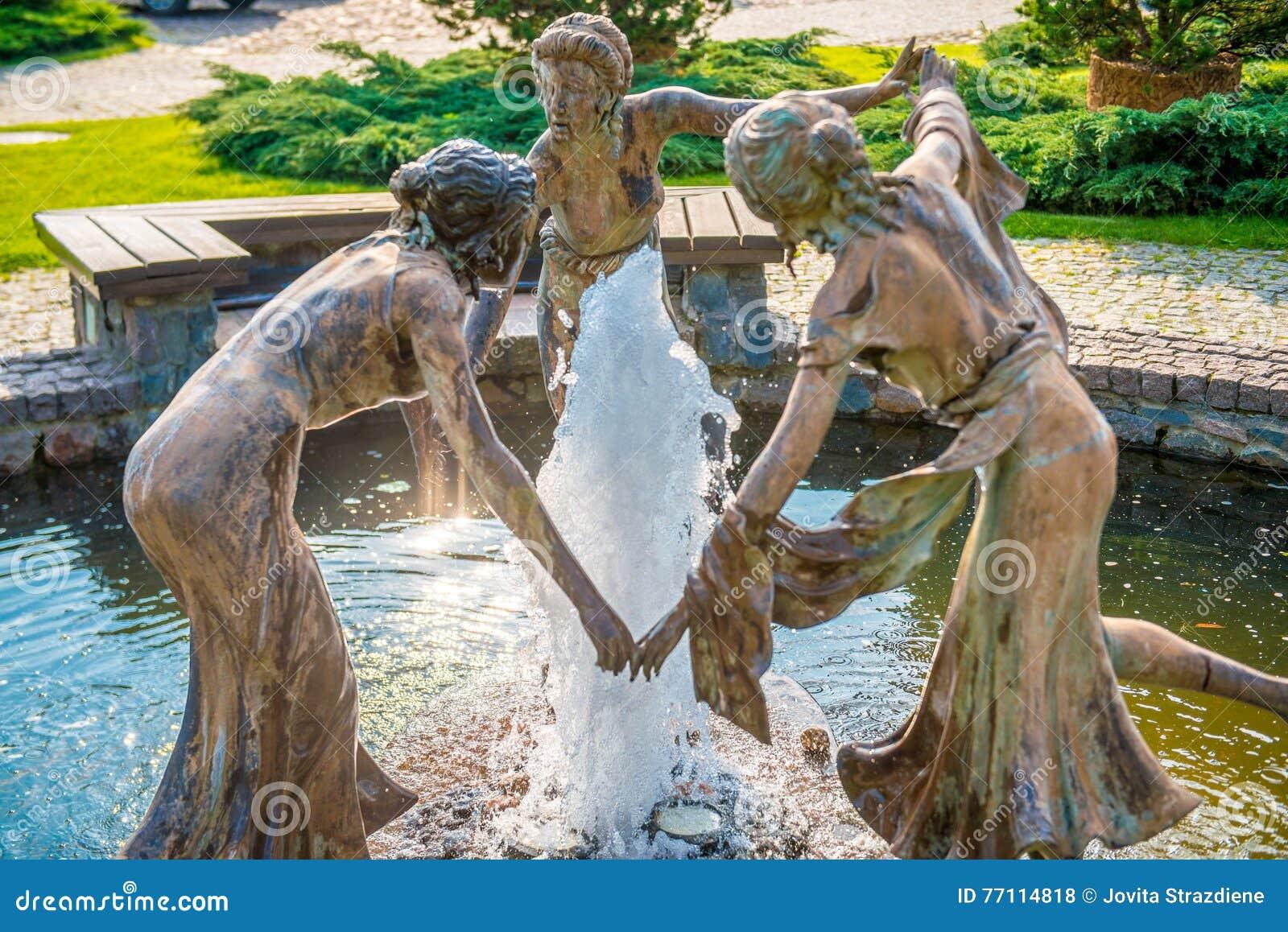 Sculptures in fountain