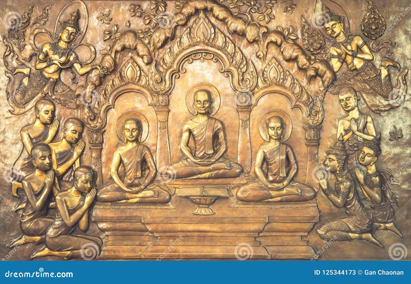 Scultura di legno di Buddha Le pitture murale raccontano la storia circa la storia del ` s di Buddha