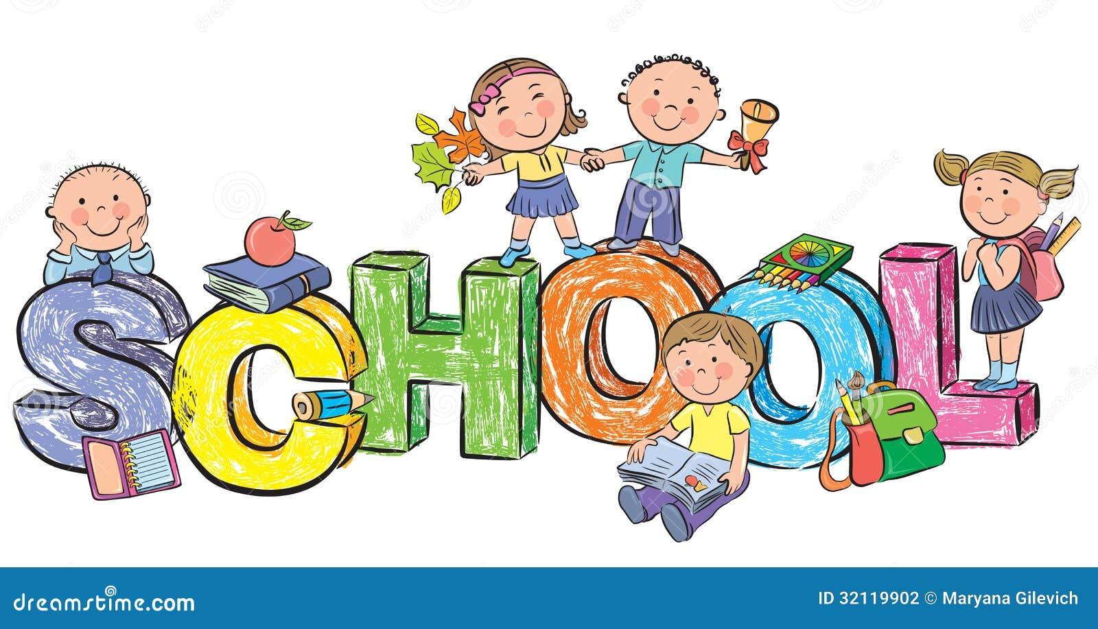 Scuola di parola e bambini divertenti illustrazione for Scuola clipart