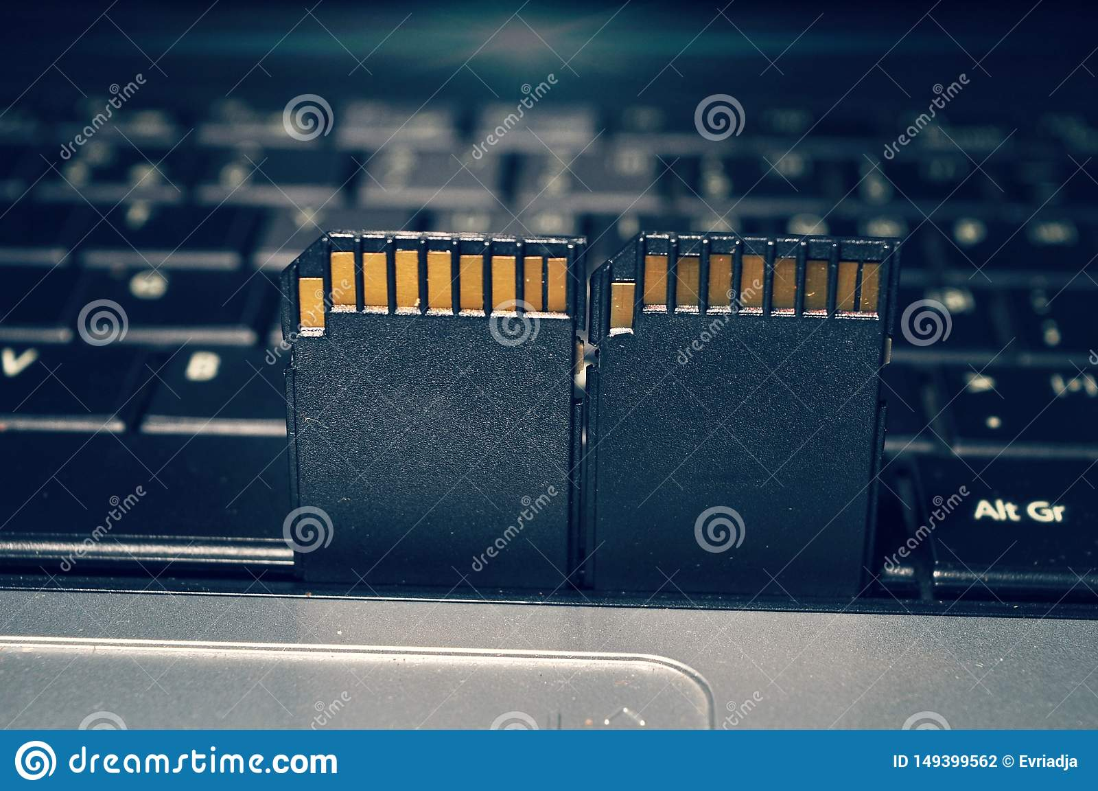 SD card isolated on keyboard laptop