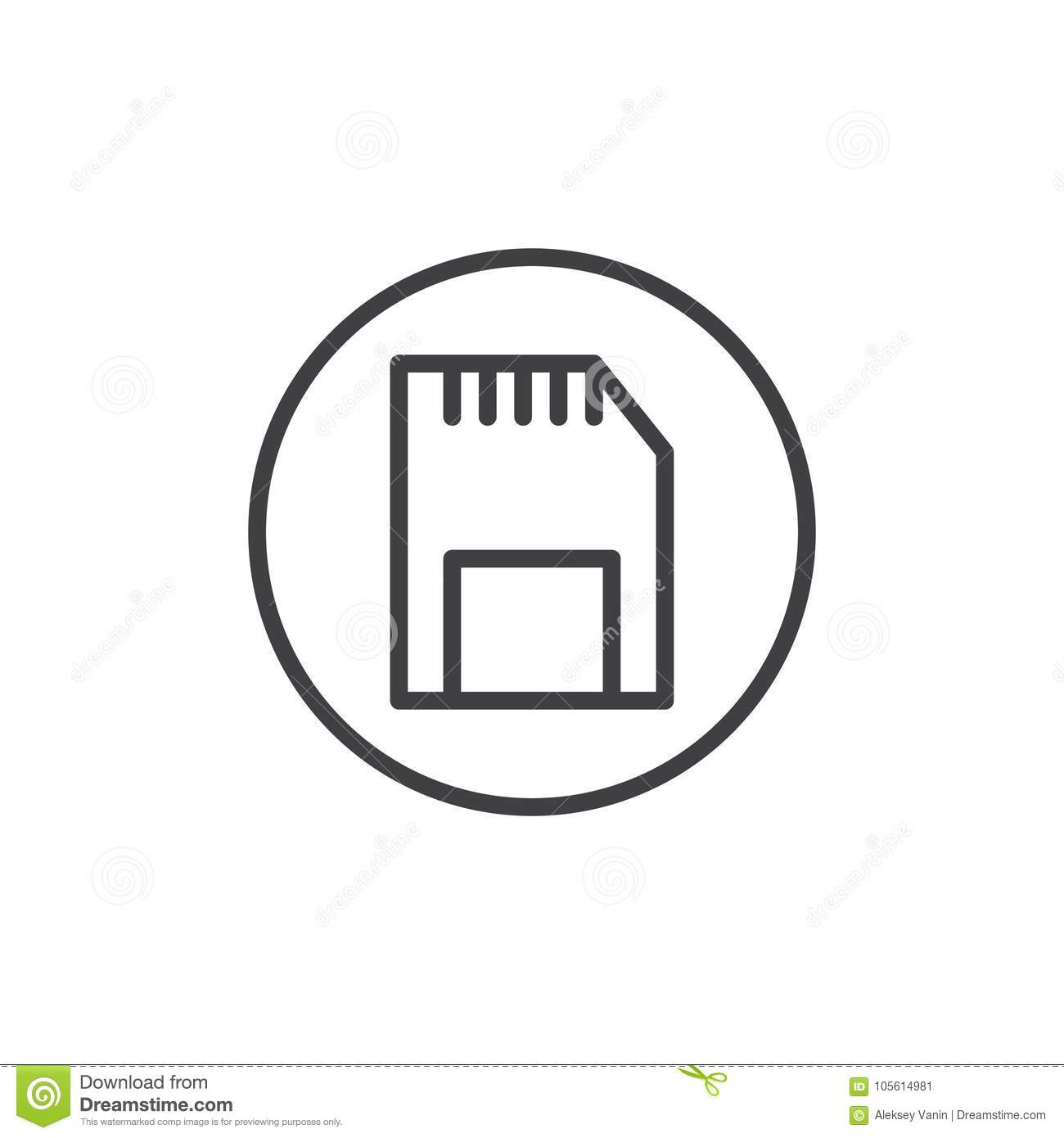 Sd Memory Card Line Icon Stock Vector Illustration Of Pixel 105614981