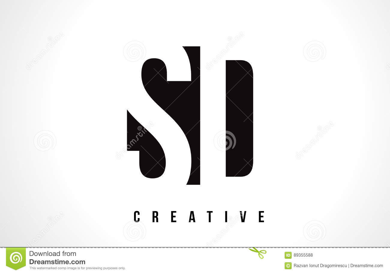 Sd S D White Letter Logo Design With Black Square Stock Vector