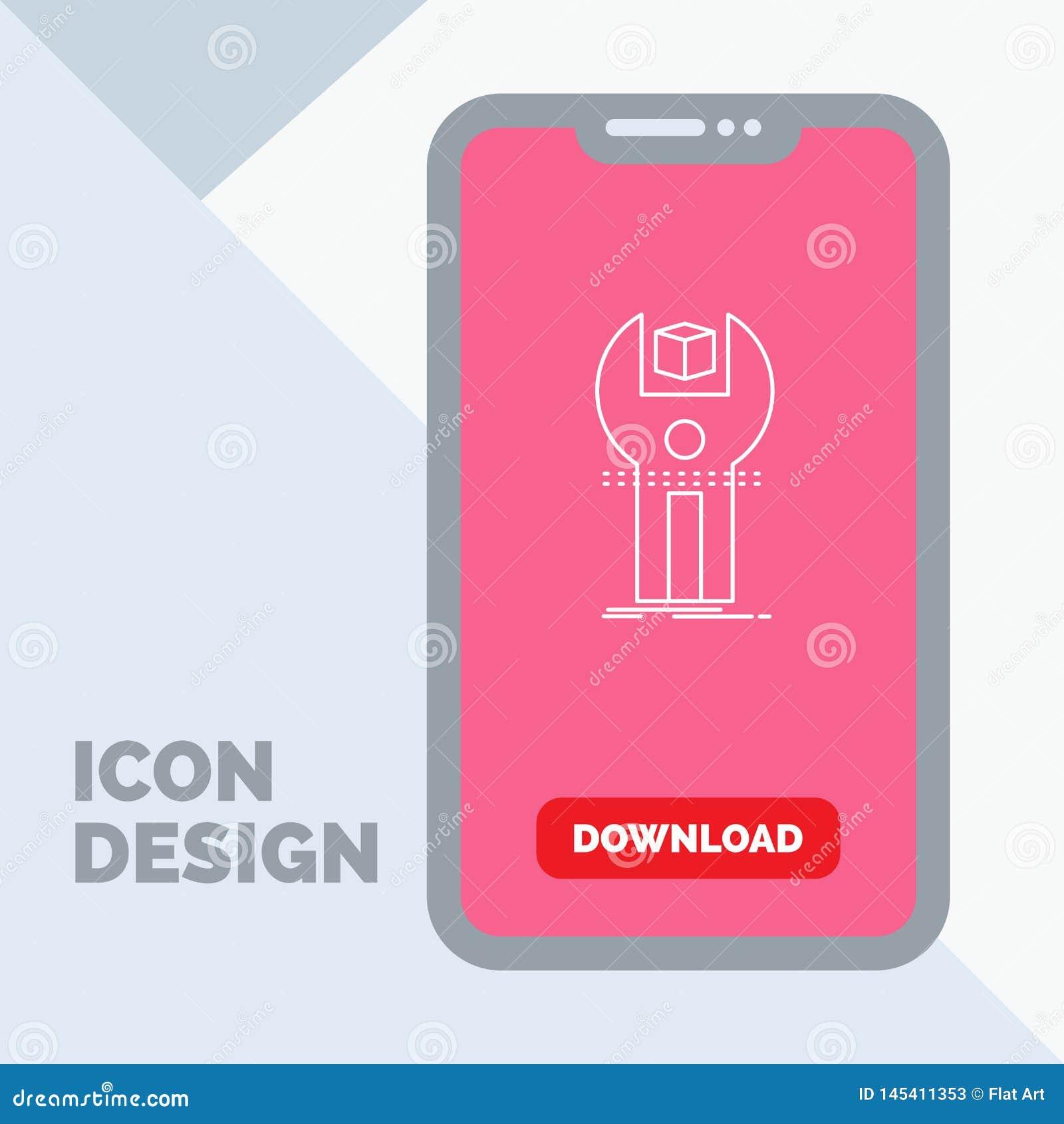 SDK, App, sviluppo, corredo, linea di programmazione icona in cellulare per la pagina di download