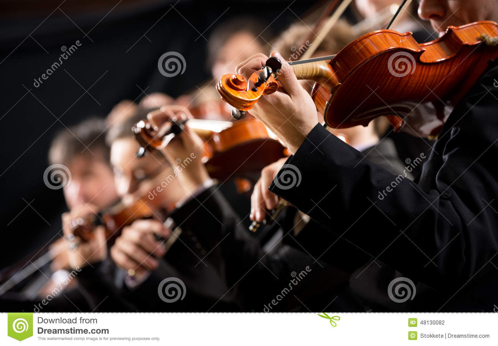 Seção de violino da orquestra primeira