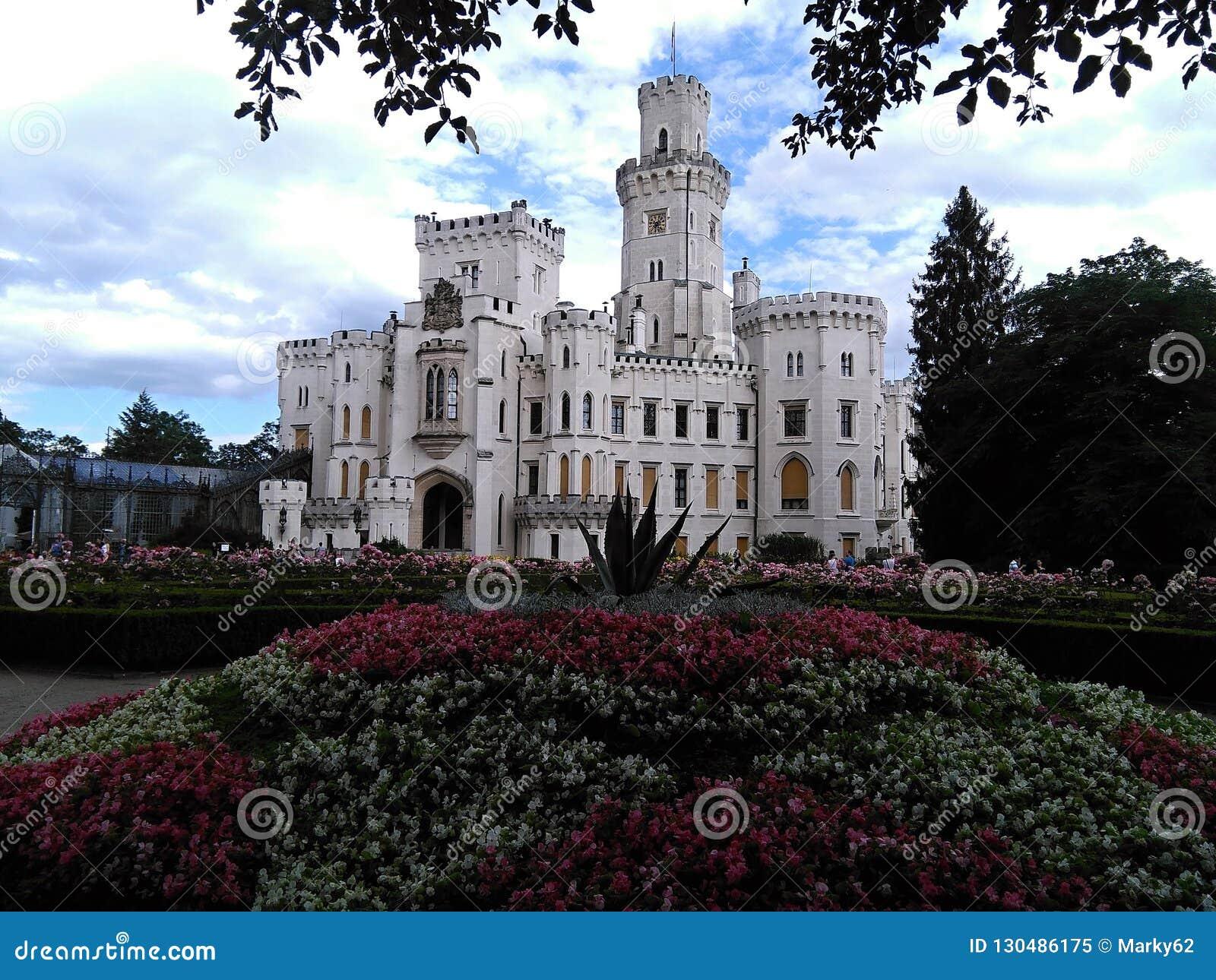 Señal de Hluboka del castillo en República Checa