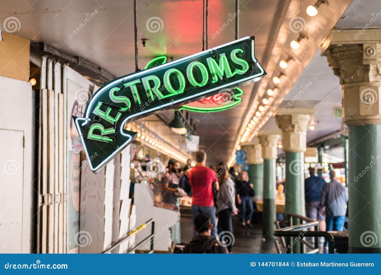 Señal de neón de lavabos del mercado de Pike en Seattle, Washington, los E.E.U.U.