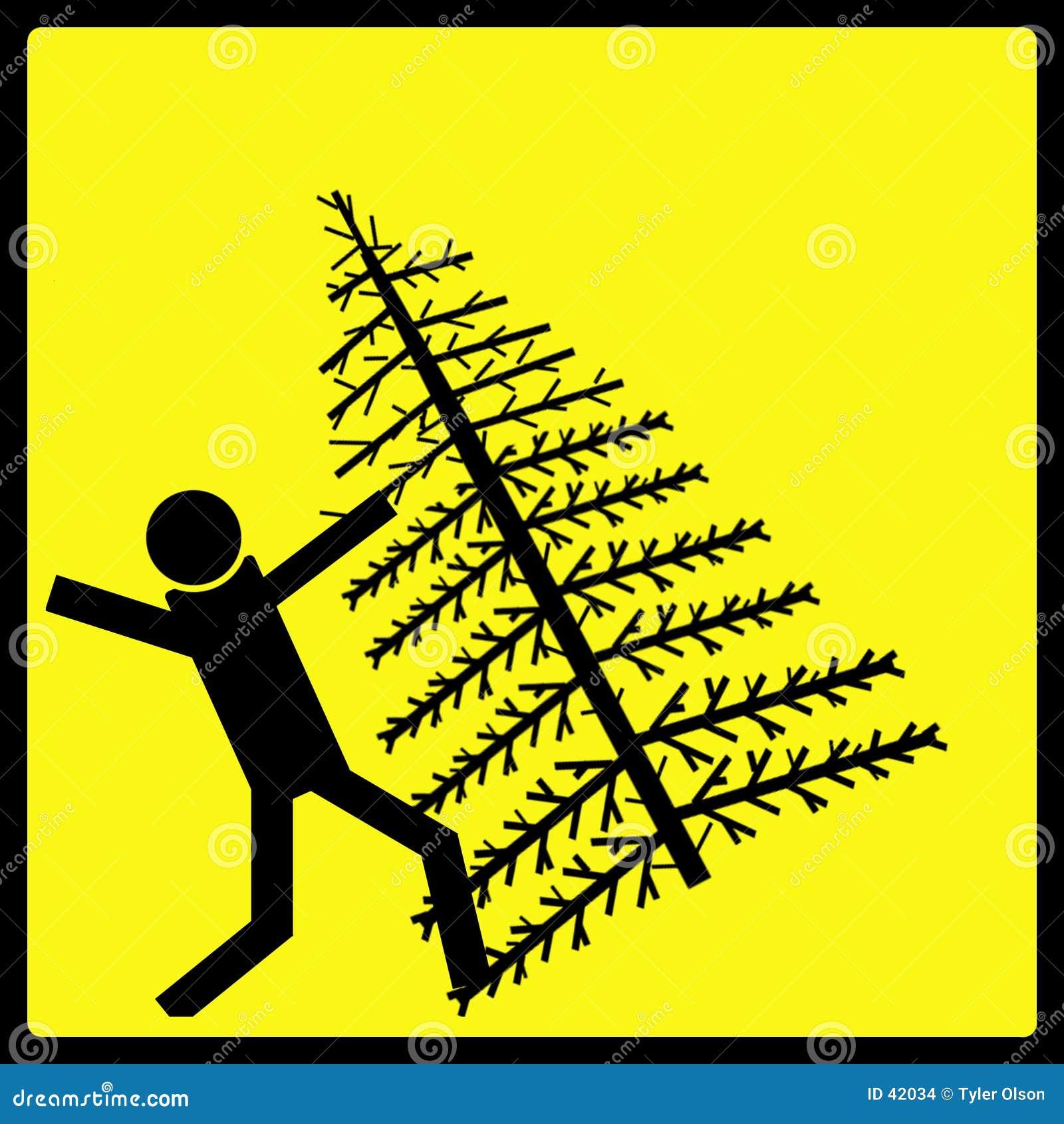 Señal de peligro del árbol de navidad que cae