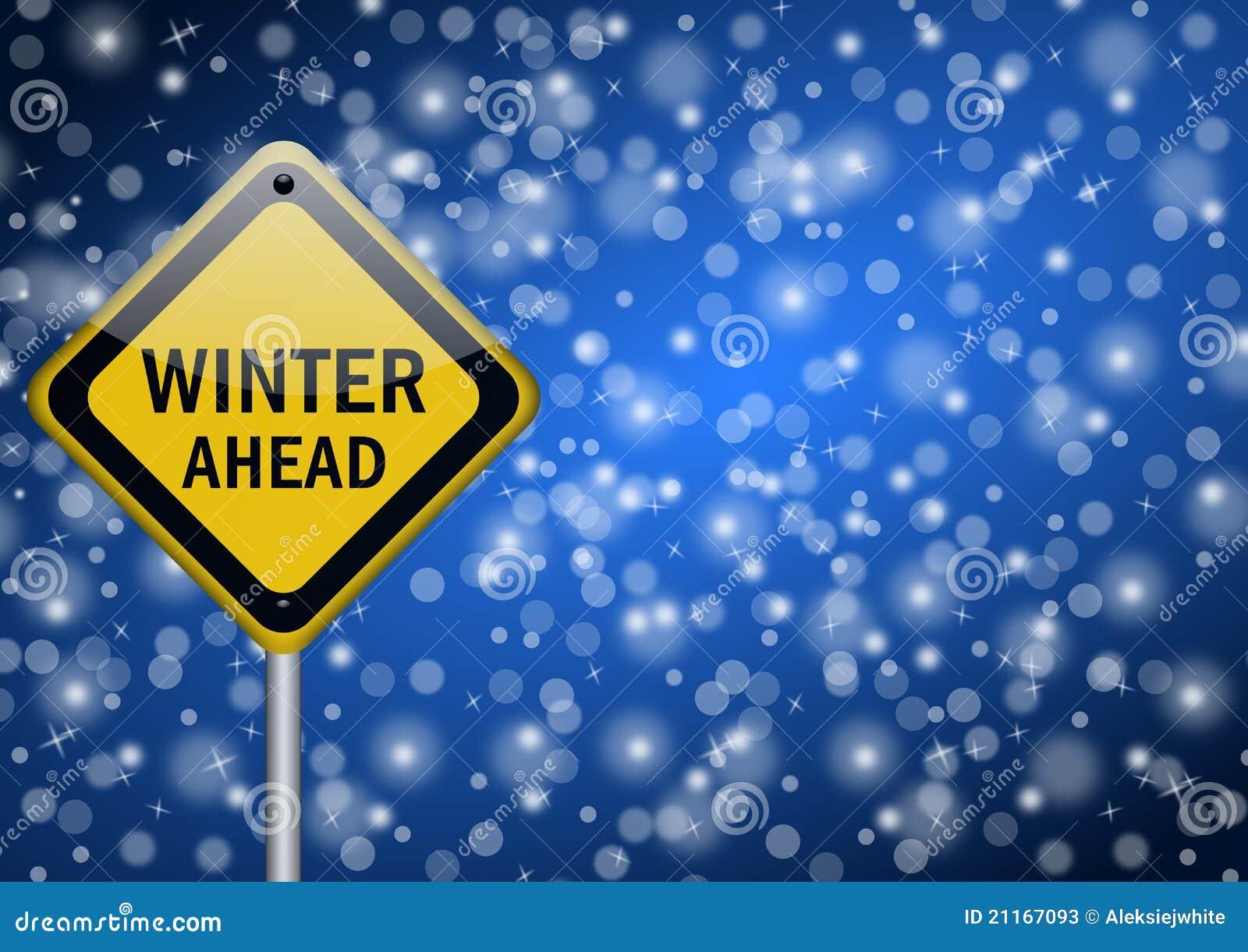 Señal de tráfico del invierno a continuación
