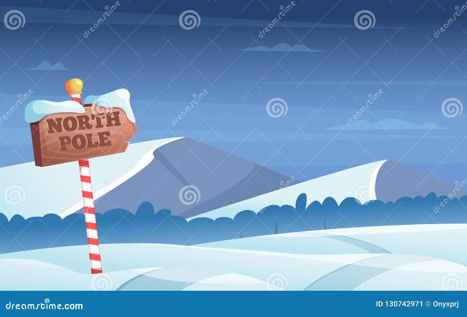 Señal de tráfico del Polo Norte Fondo Nevado con la historieta del vector de las vacaciones de invierno del país de las maravilla