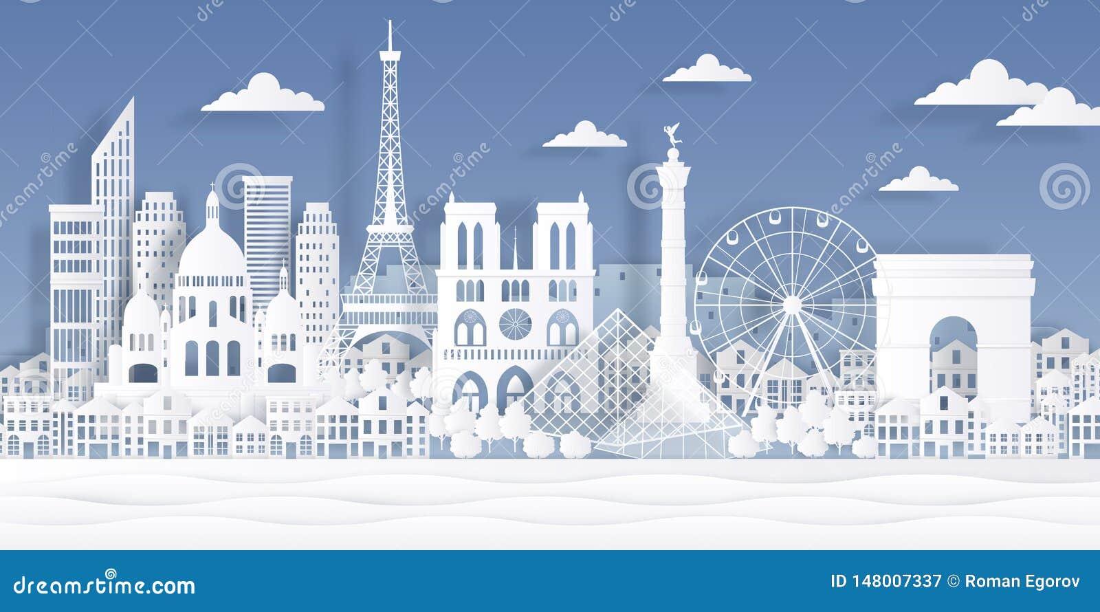 Señal del papel de París Monumento francés de la torre Eiffel, símbolo de la ciudad del viaje, diseño del paisaje urbano del cort