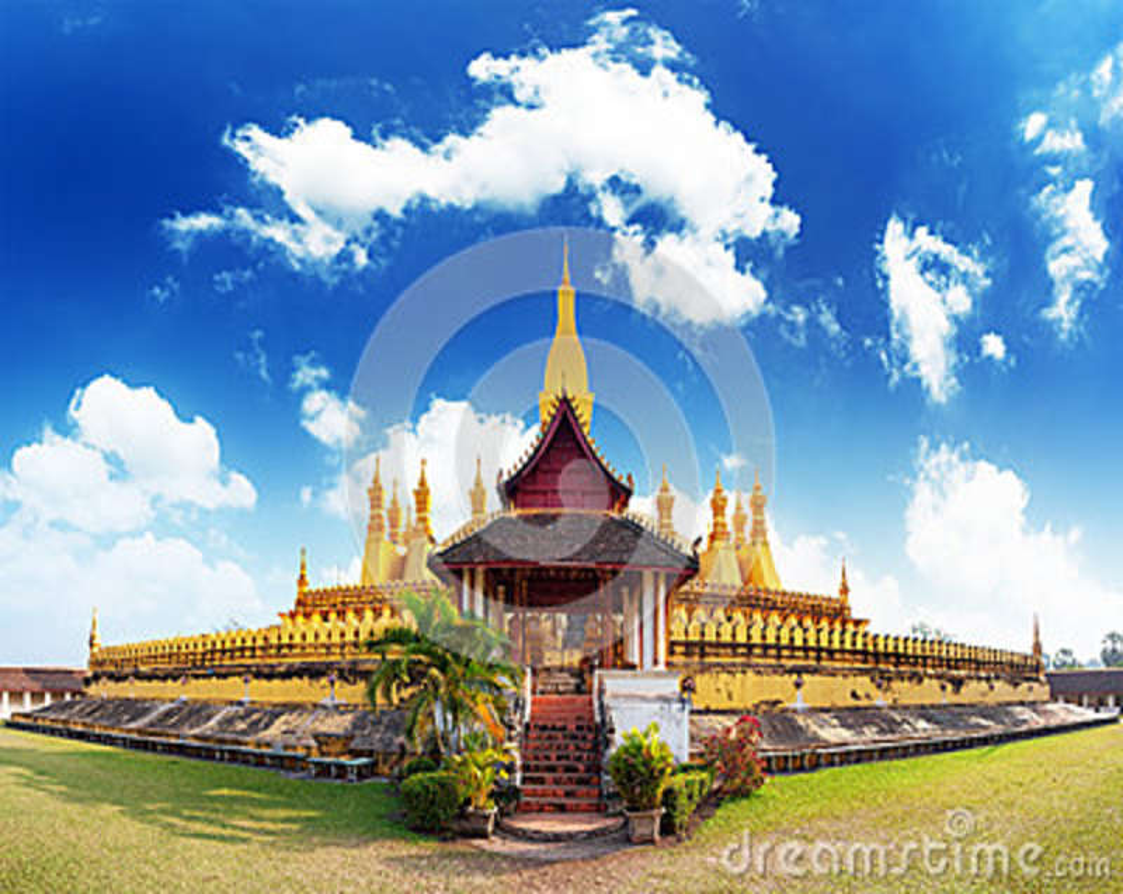 Señal del viaje de Laos, wat de oro Phra de la pagoda que Luang