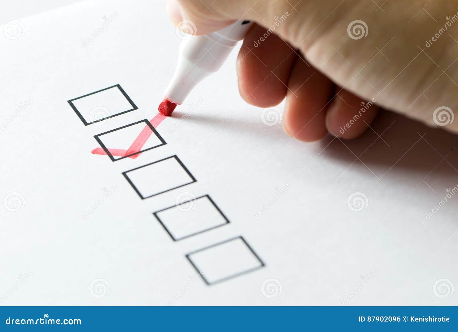 Señal en lista de verificación