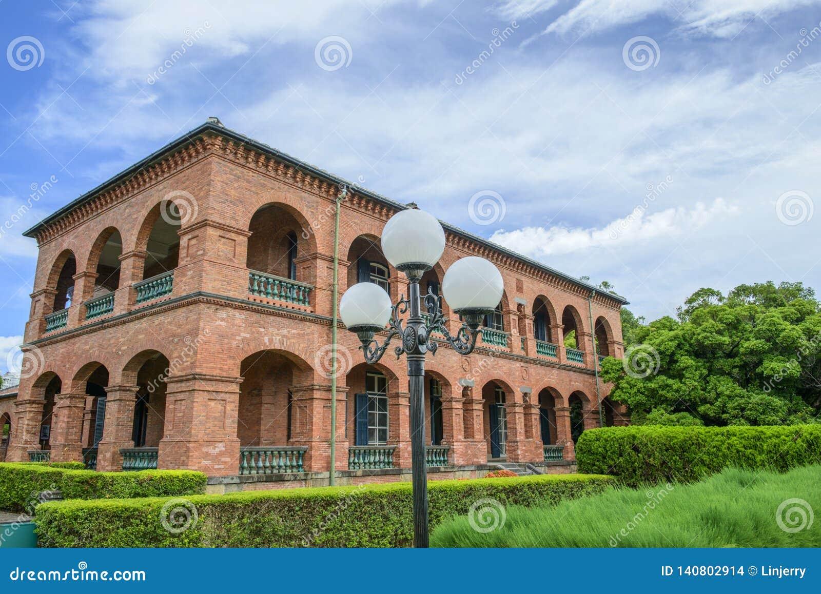 Señal histórica de la residencia británica anterior Tamusi del consulado Taipei Taiw?n