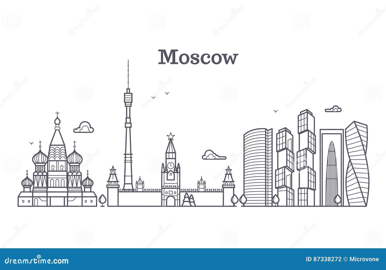 Señal linear de Moscú Rusia, horizonte moderno de la ciudad, panorama del vector con los edificios soviéticos