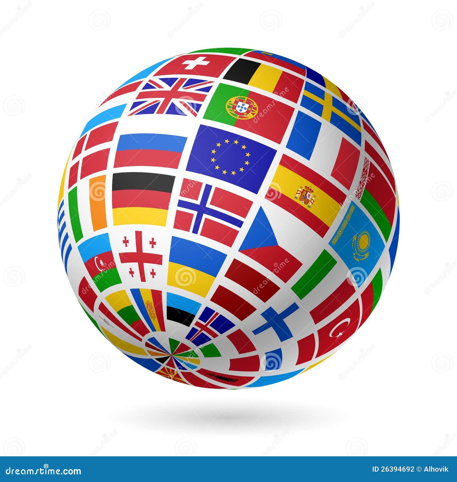 Señala el globo por medio de una bandera. Europa.