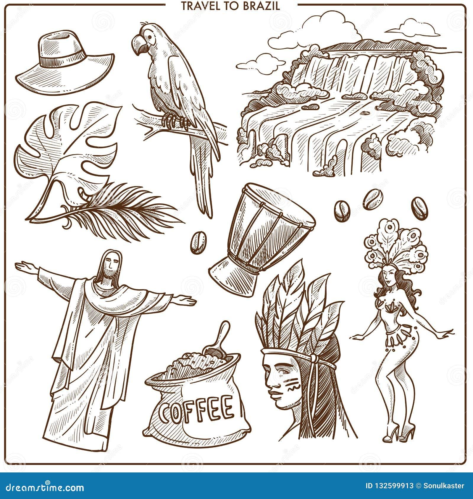 Señales del viaje del Brasil y bosquejo famoso de los símbolos del turismo Vecto