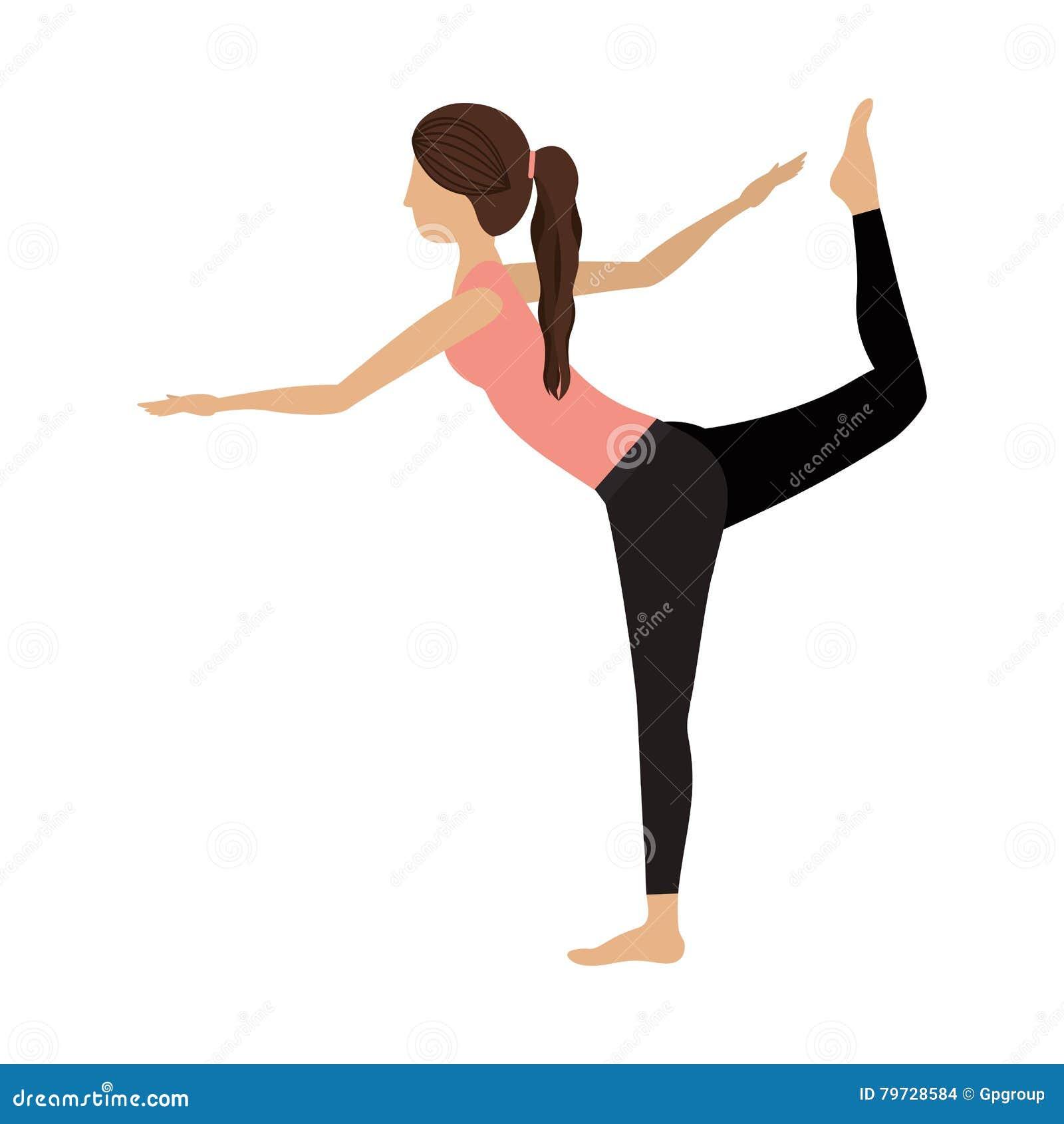 Señor colorido de la mujer de la yoga de la actitud una de la danza