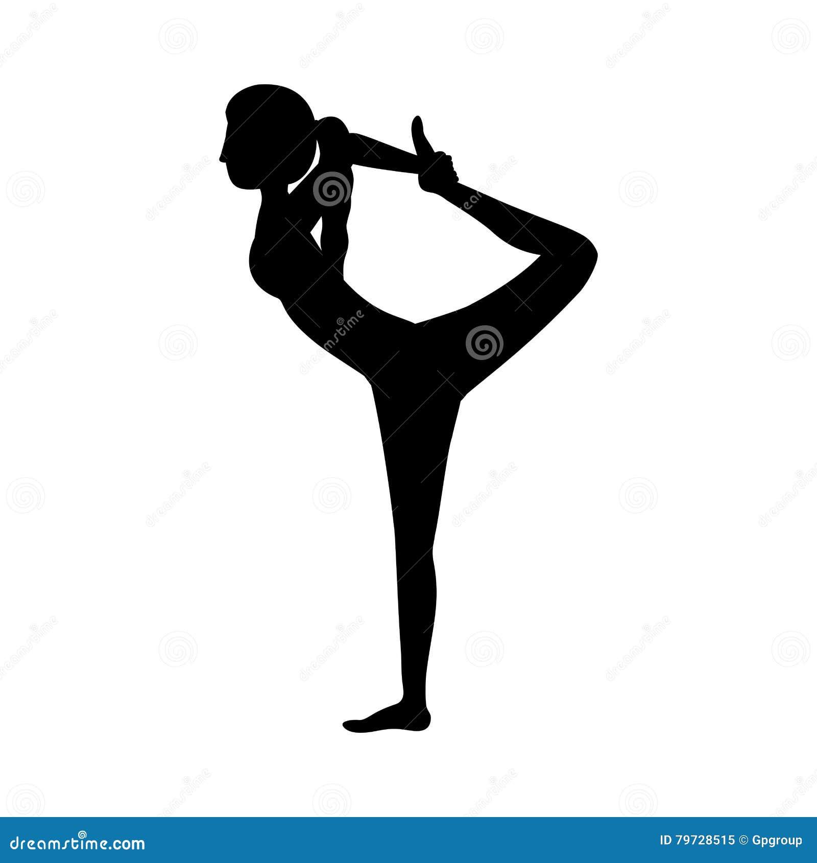 Señor de la mujer de la yoga de la silueta de la actitud tres de la danza