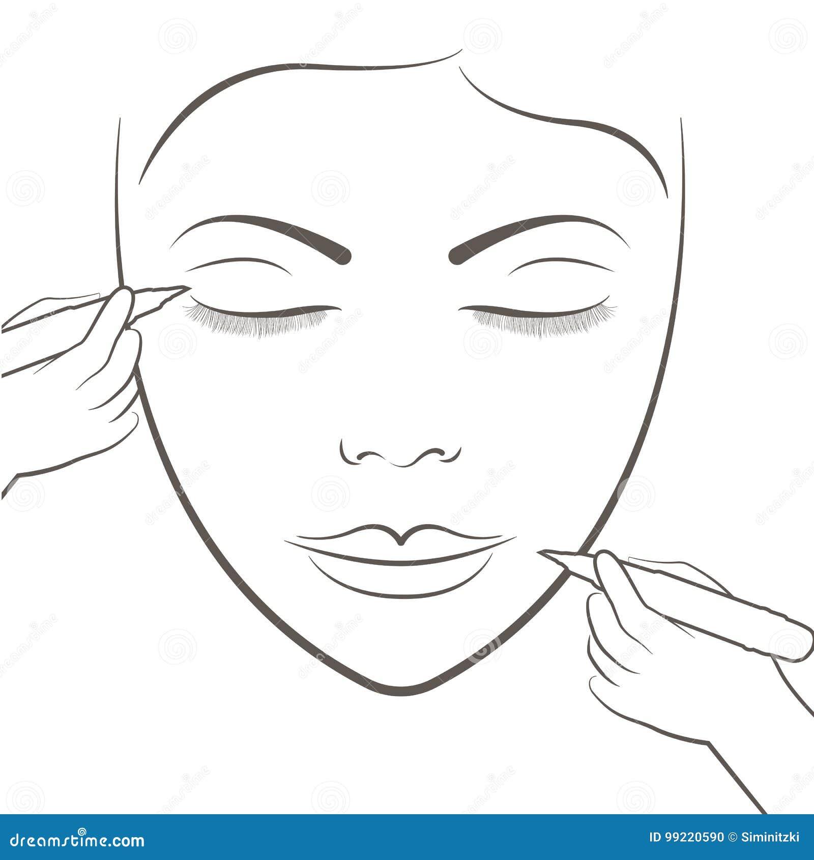 Señora Atractiva Que Consigue Cuidado Y Tatuaje Facial Y Tatuaje