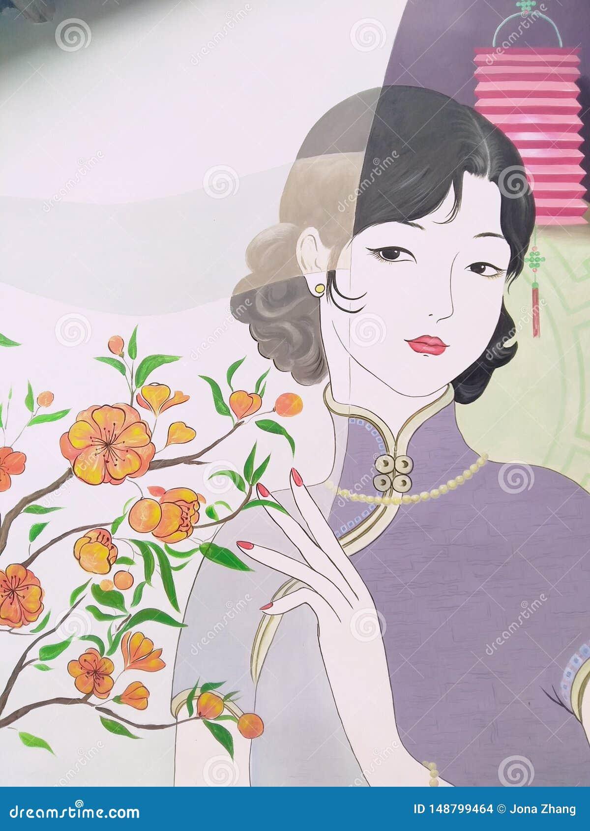 Señora bonita en Qipao China