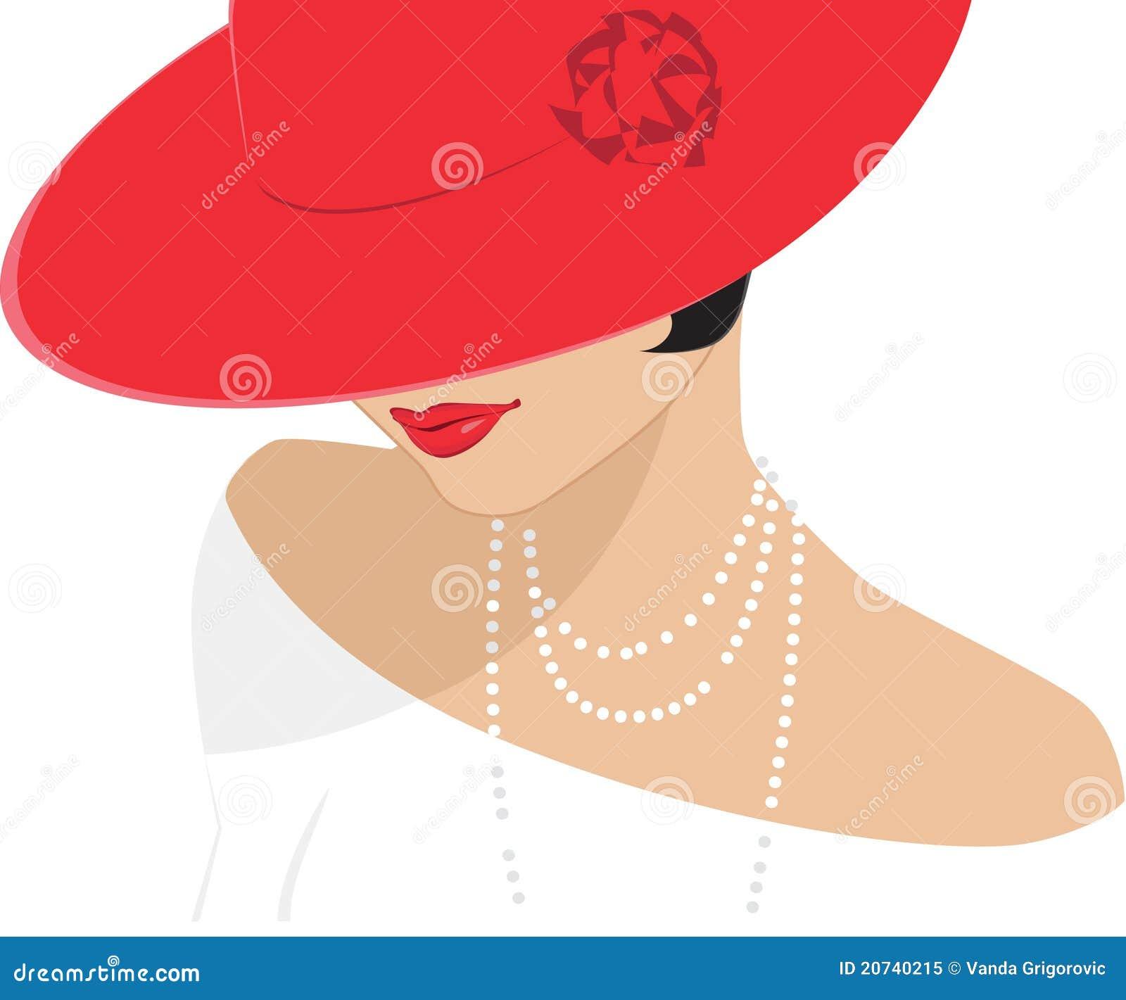 Señora en un sombrero rojo