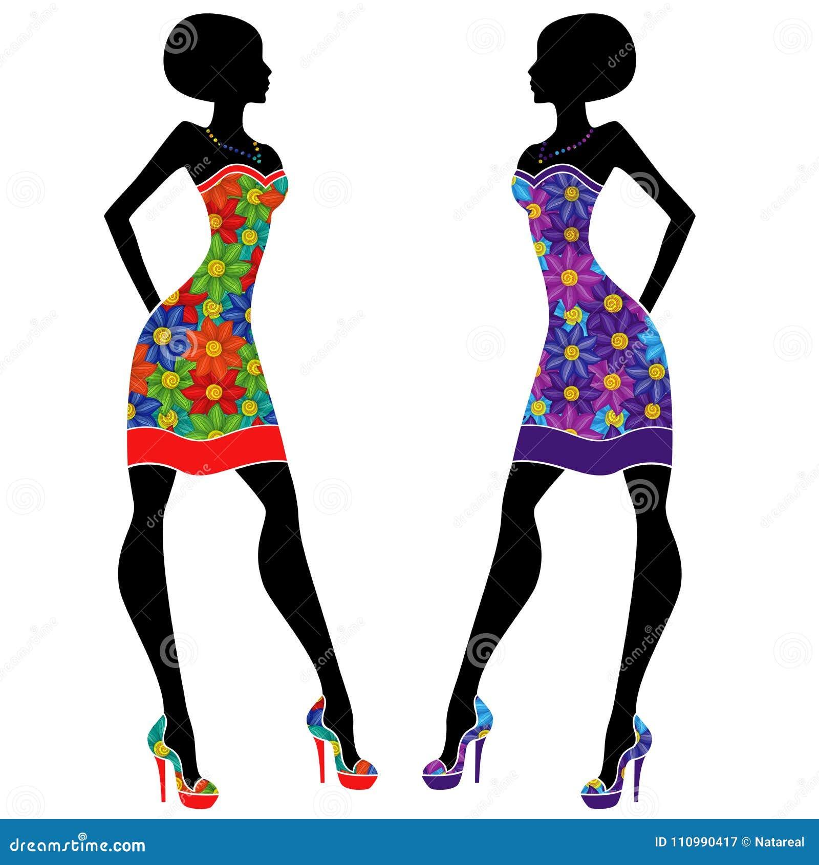 Señoras Jovenes Agraciadas En Vestidos Cortos Ilustración