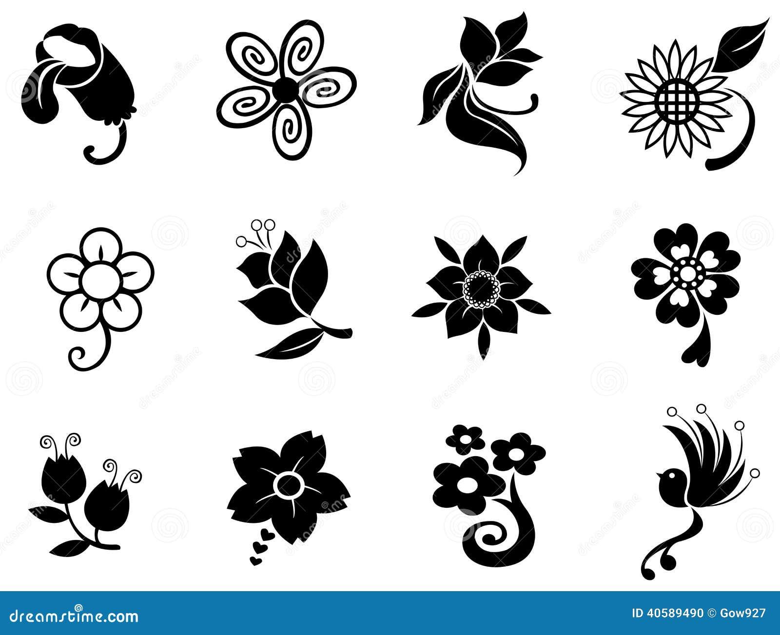 Se della raccolta della siluetta della siluetta del fiore di fantasia