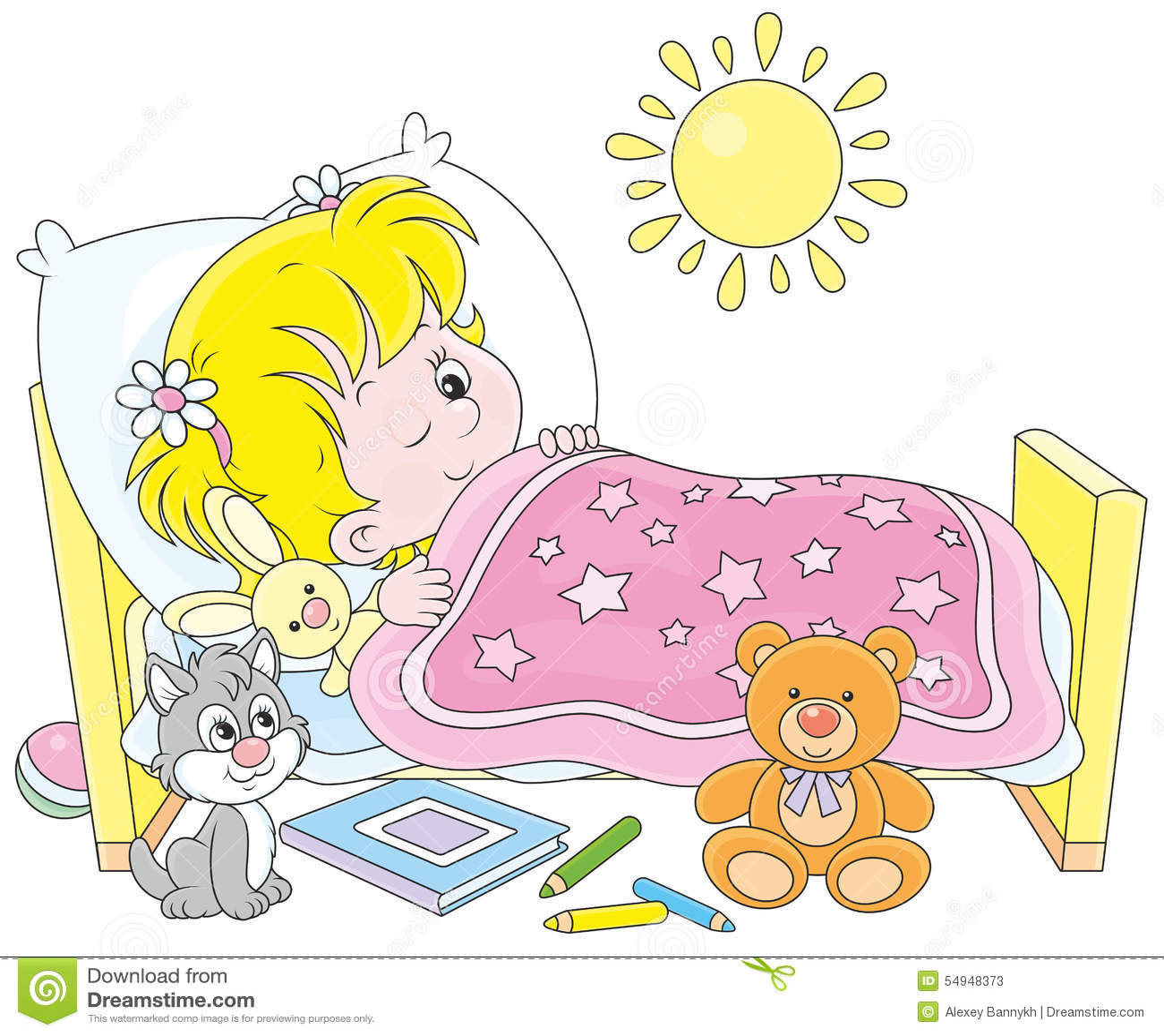 se r veiller de fille illustration de vecteur image 54948373. Black Bedroom Furniture Sets. Home Design Ideas