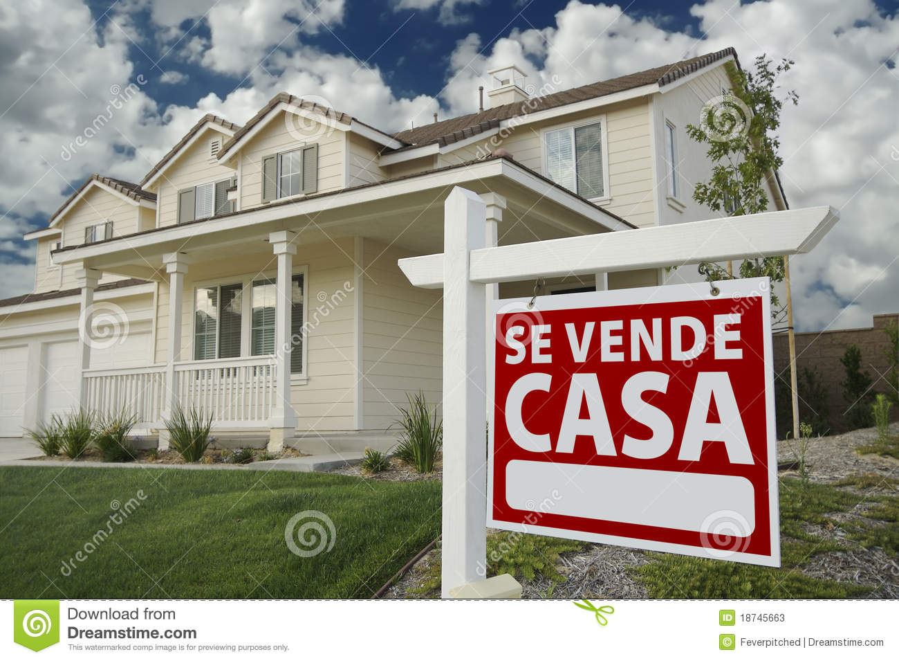 Se vende casa spanish real estate sign and house stock - Come si vende una casa ...