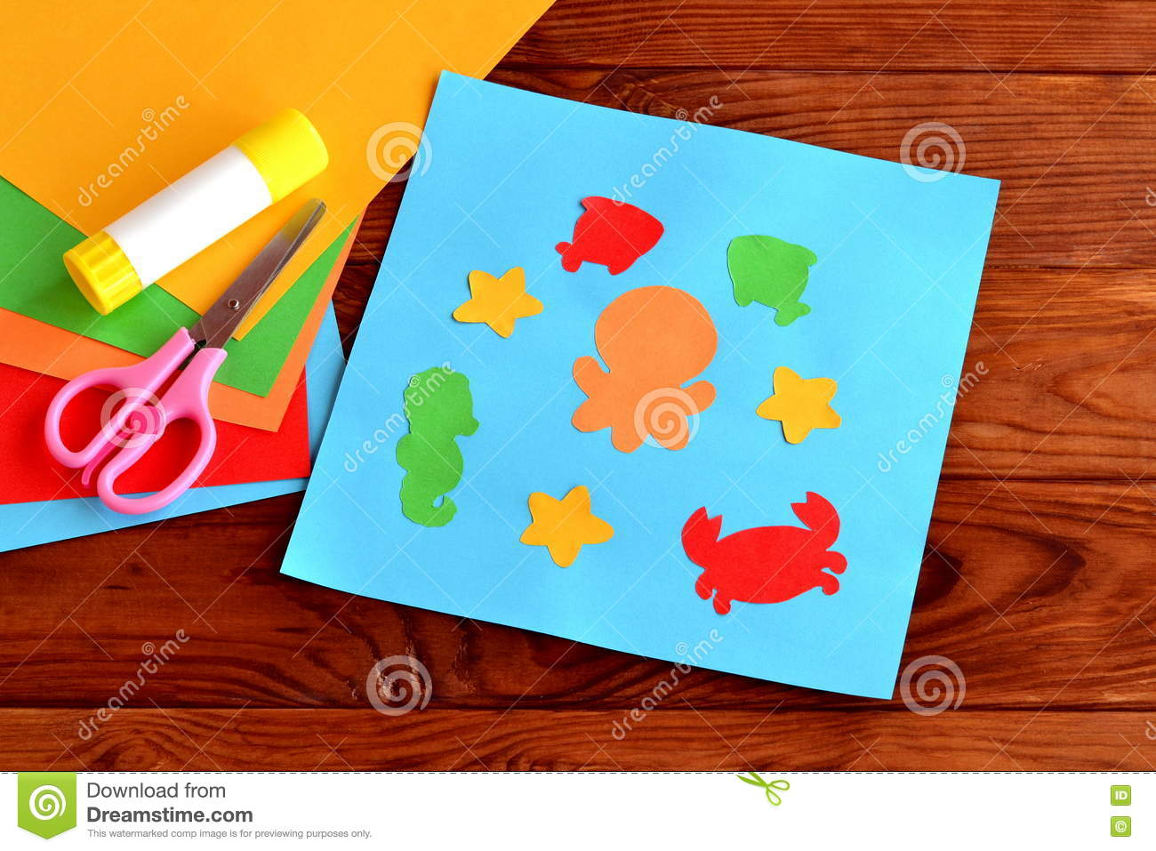 Download Sea Animal And Fish DIY Crafts Project Ideas For Kids Childrens Paper Stock