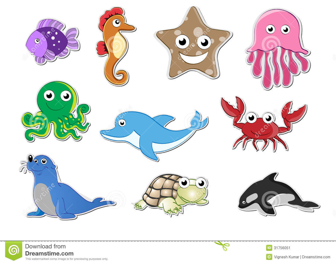 Sea animal stickers stock image image 31756051 for Auto collant mural