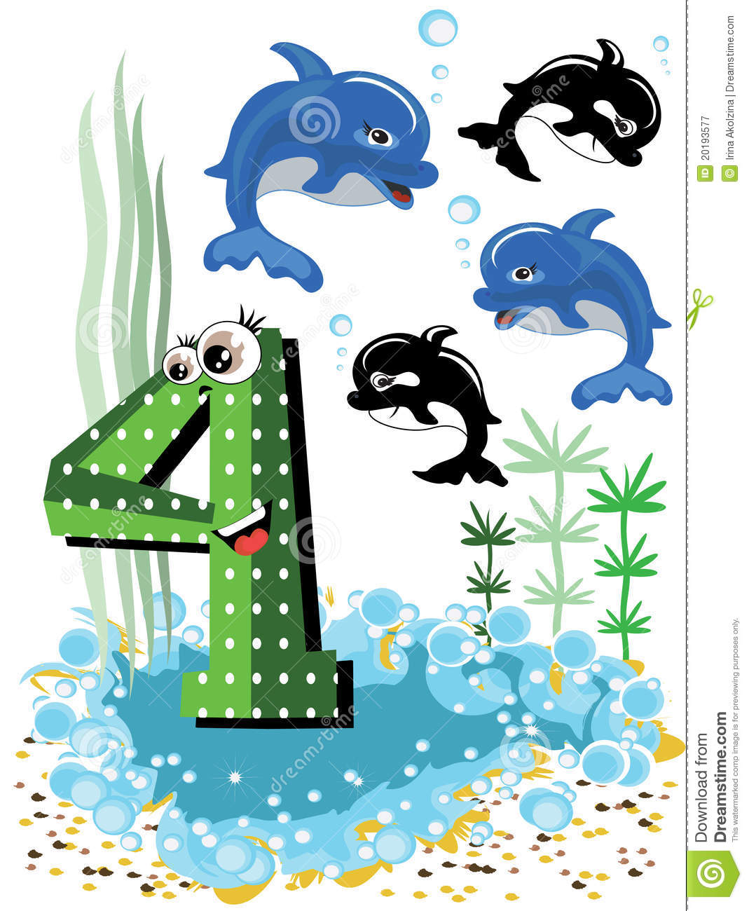 10: Sea Animals And Numbers Series-4,dolphins Stock Vector