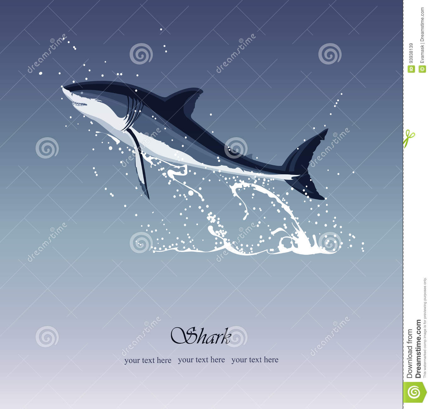 Sea Background With Jumping Out Of The Water Shark Stock Vector