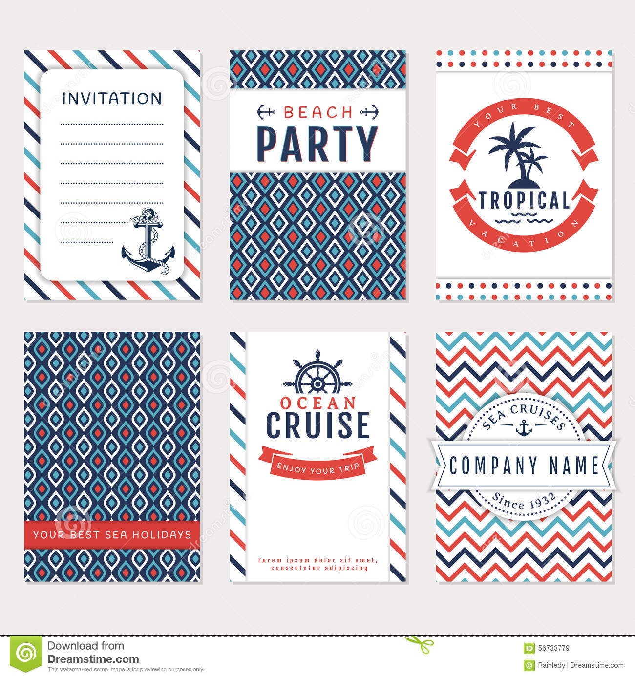 Beach Theme Card Stock: Sea Banners. Vector Card Templates. Stock Vector
