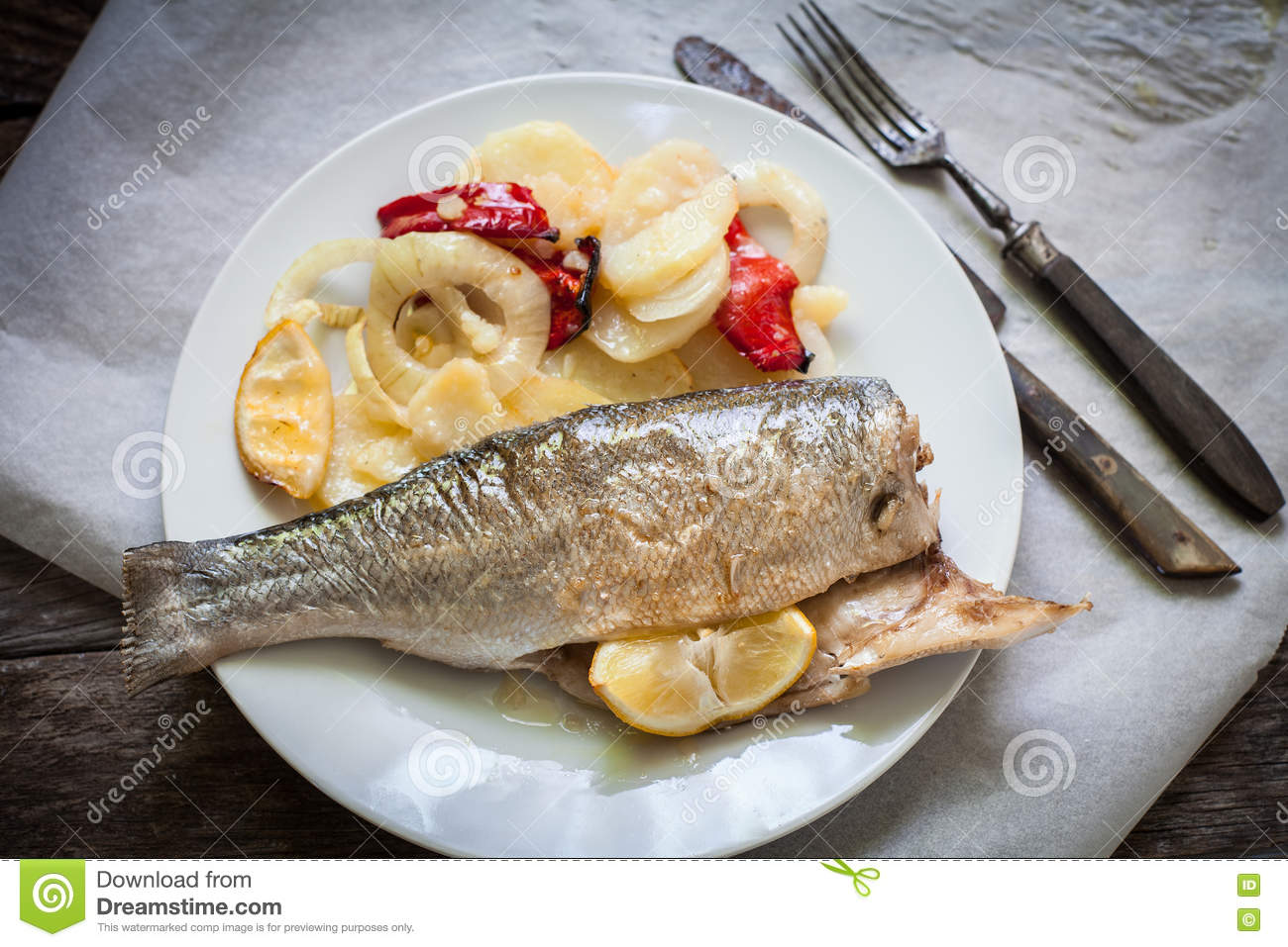 Sea bass baked