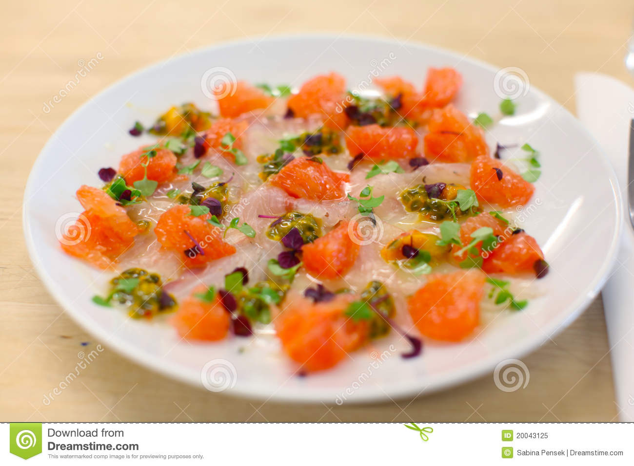 Sea Bass And Pink Grapefruit Ceviche Stock Image