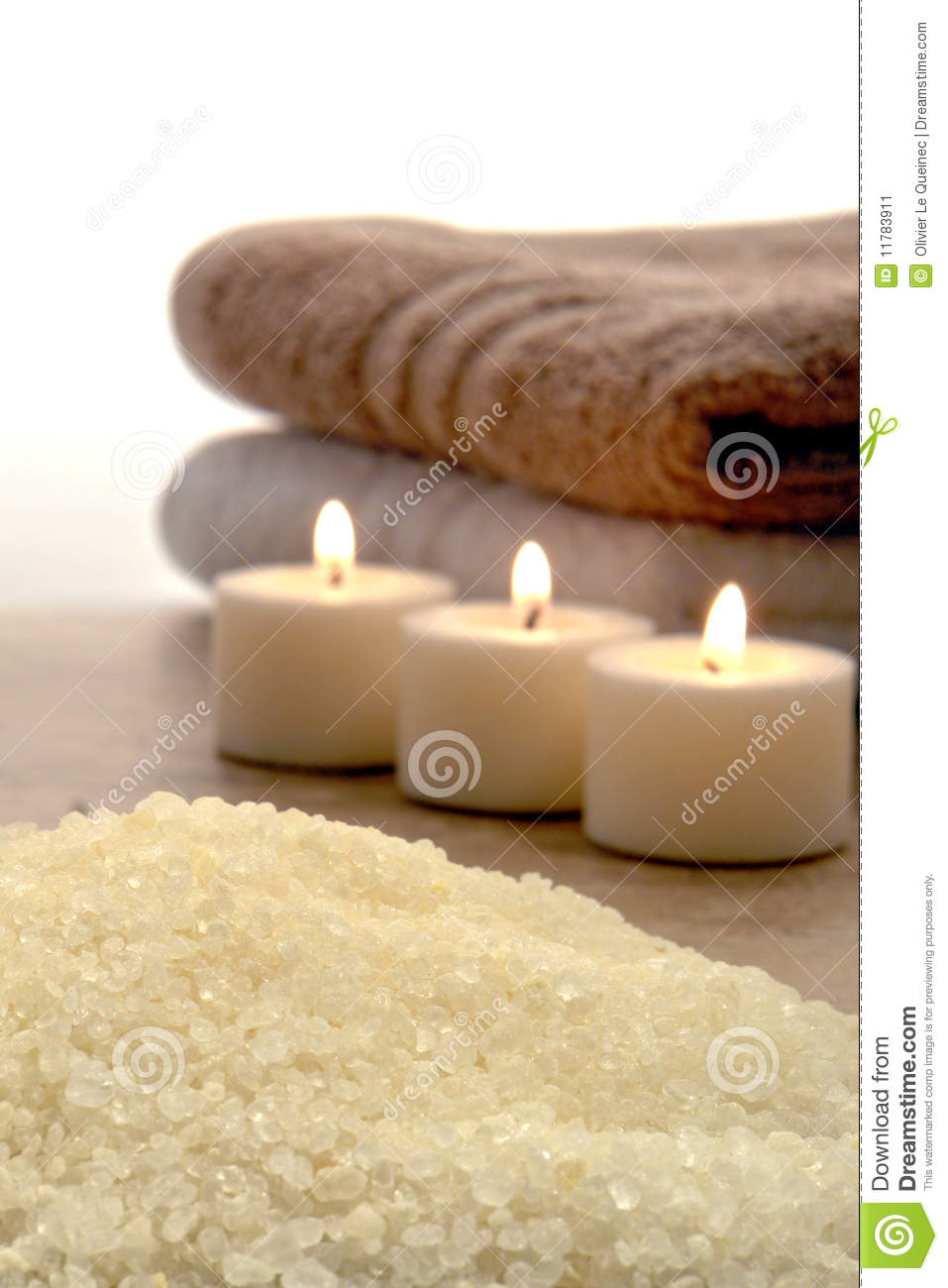 Sea Bath Salts and Burning Candles in a Spa