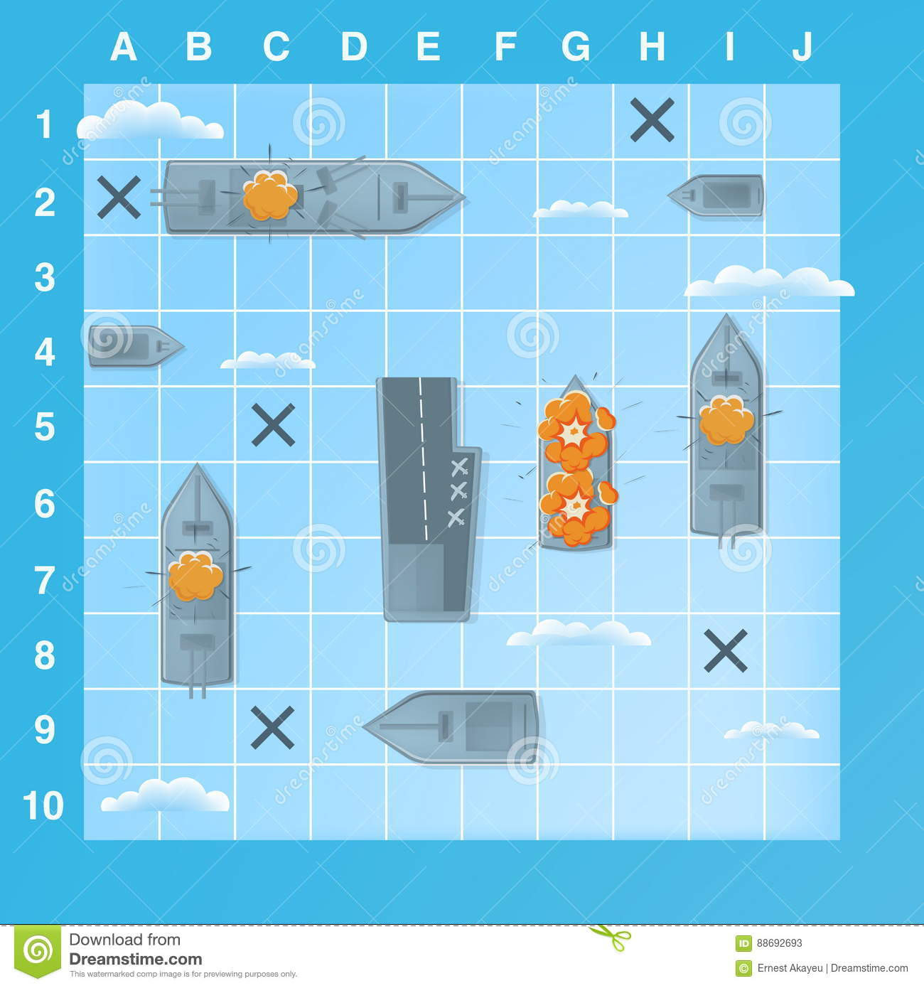 Sea Battle Game Elements With Effects. Cartoon Illustration Stock ...
