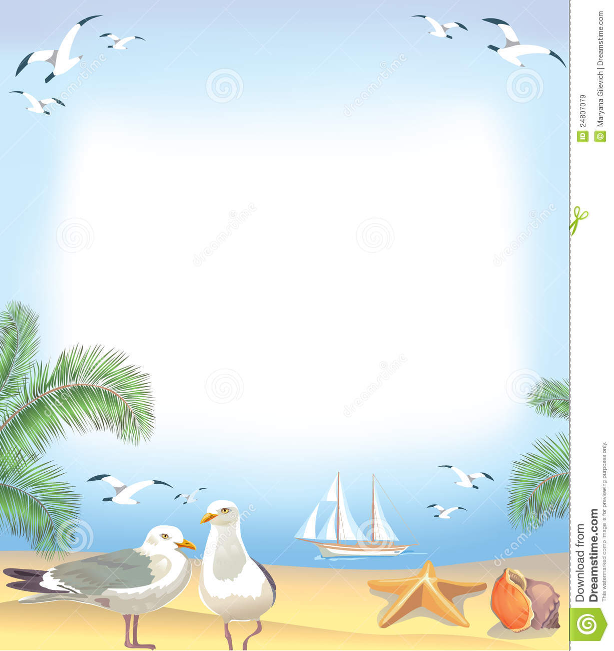 Sea beach frame stock vector. Illustration of wings, seascape - 24807079