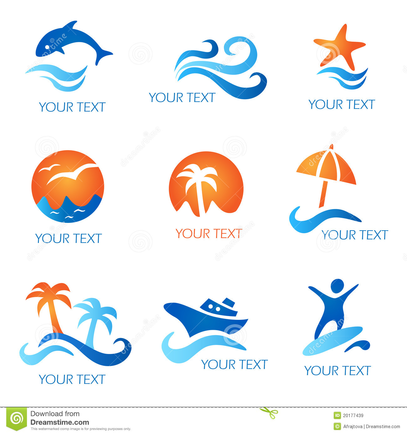 Sea And Beach Icons Royalty Free Stock Images - Image ...