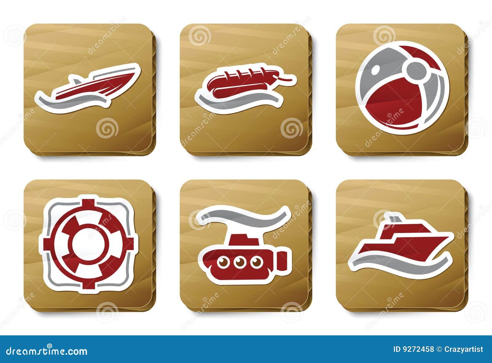 Sea and Beach icons | Cardboard series