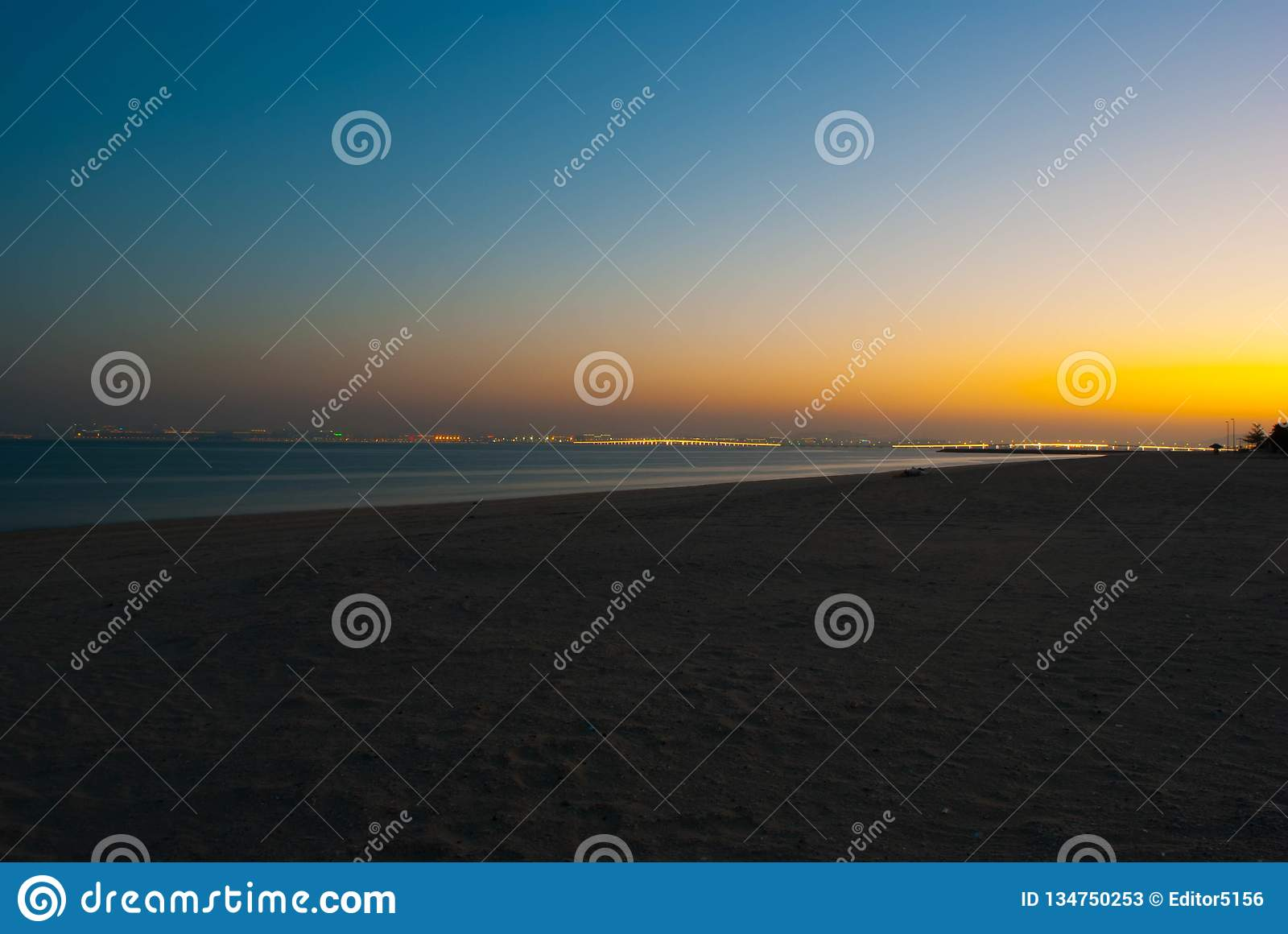 Sea and beach in the night