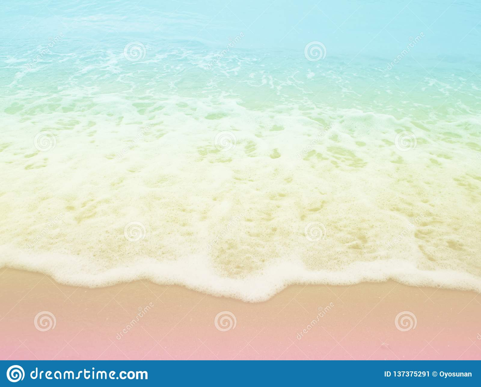 Sea beach with pastel colored background.