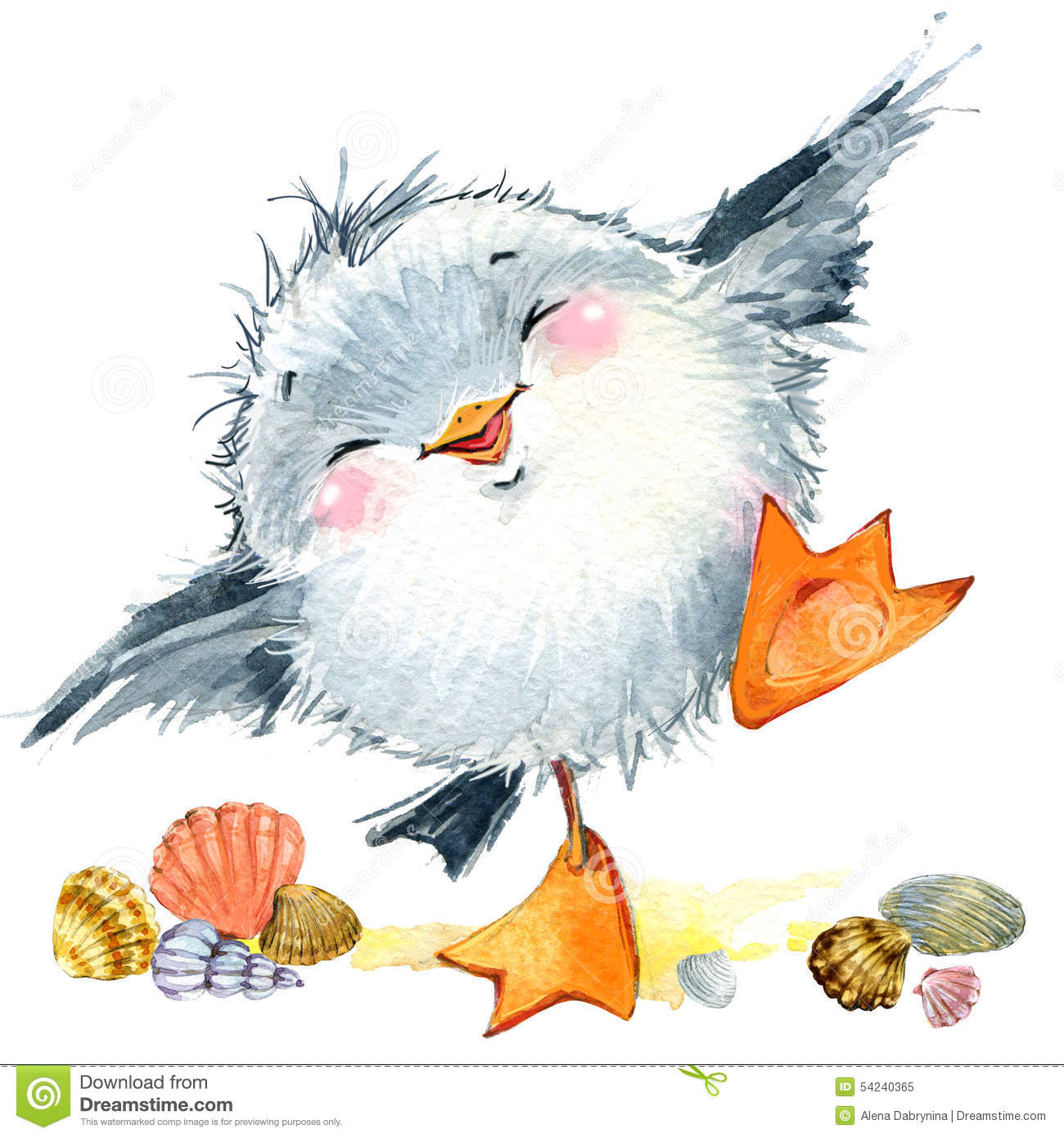 Sea bird seagull. Marine funny background. watercolor illustration